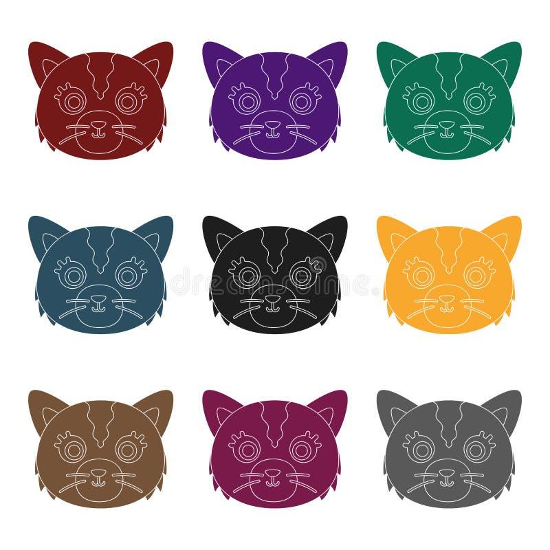 Cat Muzzle Icon In Black Style Isolated On White Background Animal