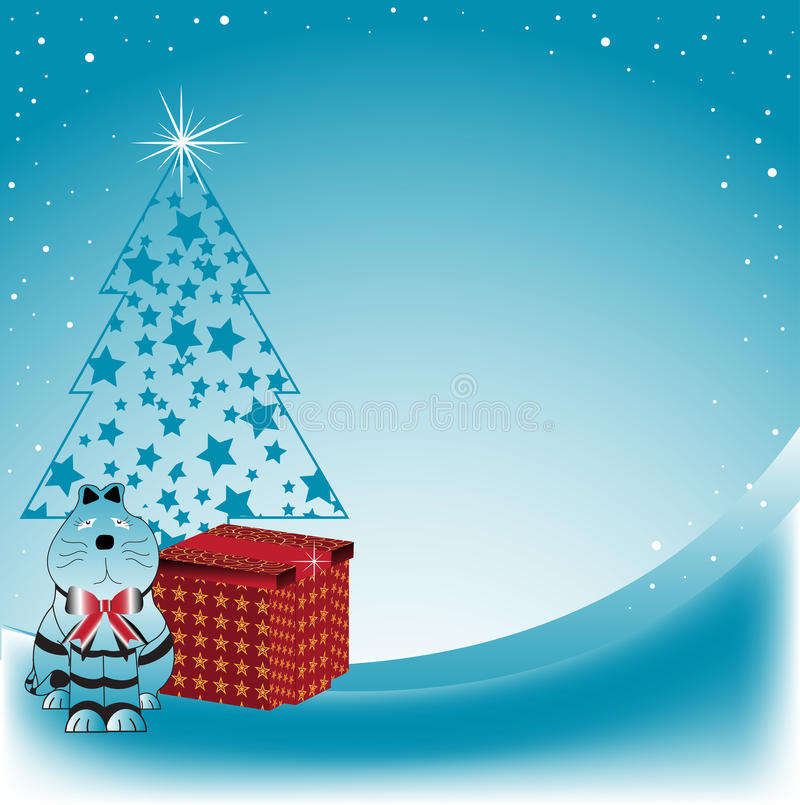 Download Cat Near The Christmas Tree Stock Vector - Illustration: 11856173