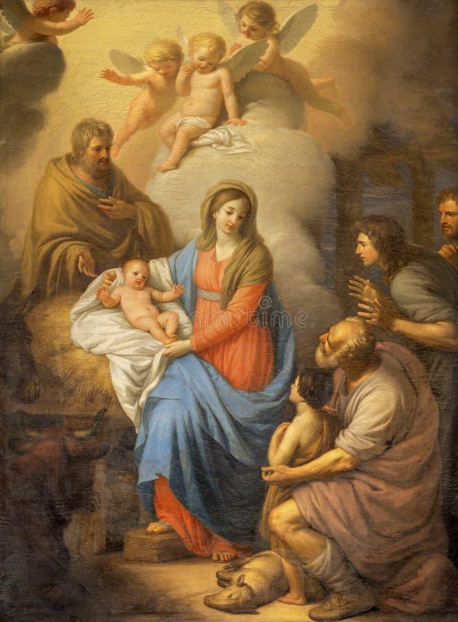 CATÂNIA, ITÁLIA - 7 DE ABRIL DE 2018: A pintura da Natividade na igreja Chiesa di San Placido por Stefano Tofanelli 1750 - 1812 imagens de stock royalty free
