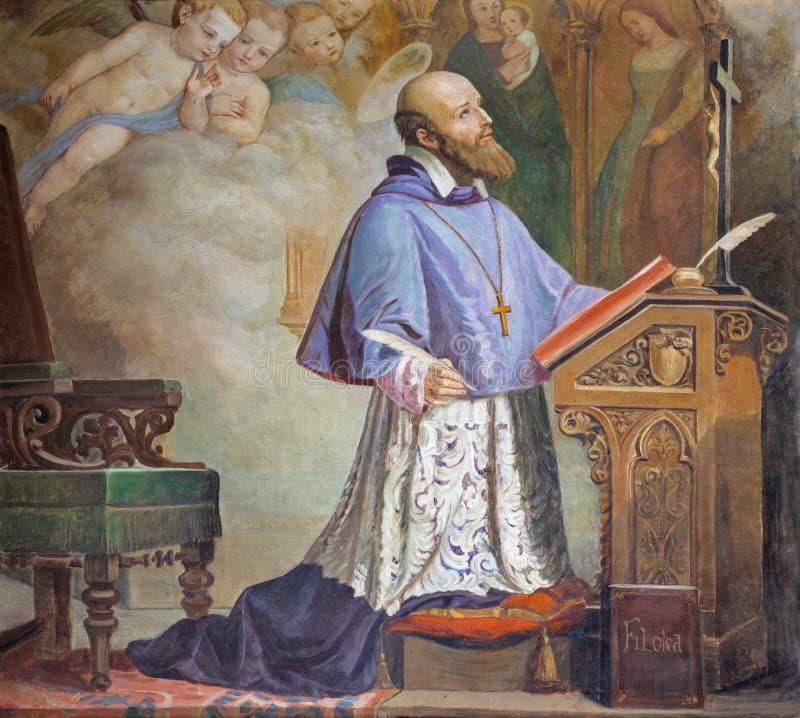 CATÂNIA, ITÁLIA - 8 DE ABRIL DE 2018: A pintura de São Francisco de Sales na igreja Chiesa di San Filipo Neri, 1937 fotografia de stock