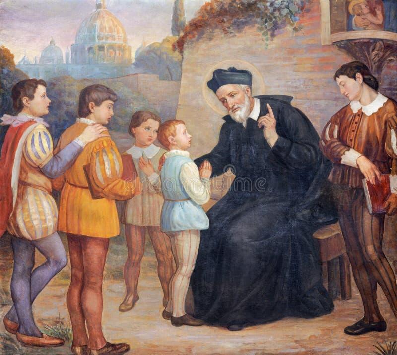 CATÂNIA, ITÁLIA - 8 DE ABRIL DE 2018: A pintura de St Filip Neri na igreja Chiesa di San Filipo Neri, 1937 fotografia de stock