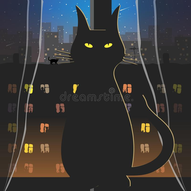 Cat and night in the window. Vector format