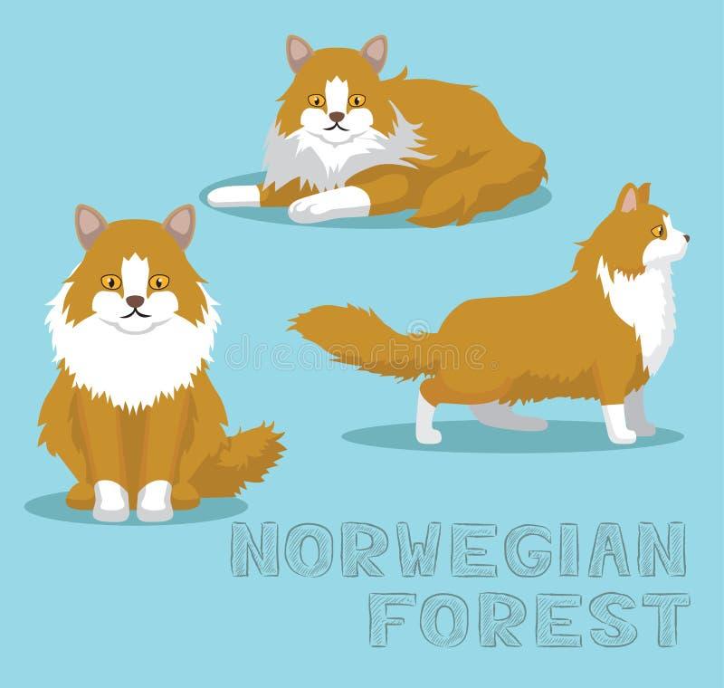 Cat Norwegian Forest Cartoon Vector-Illustratie stock illustratie