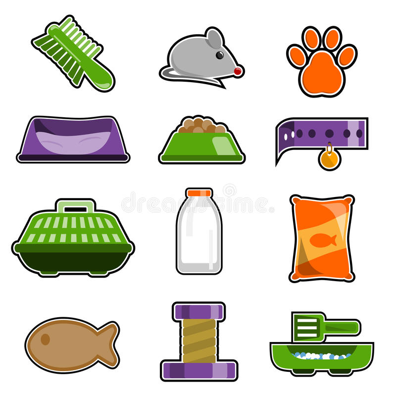 Cat object icon set royalty free illustration