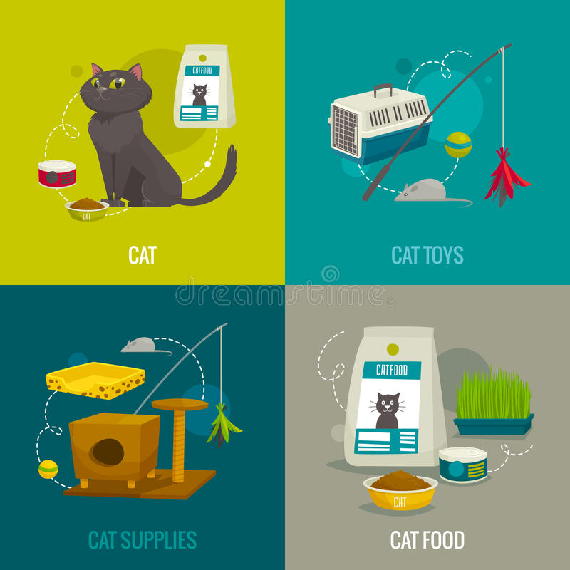 Cat objects square compositions, vector cartoon illustration, pet care concepts. Food toys and stuff vector illustration