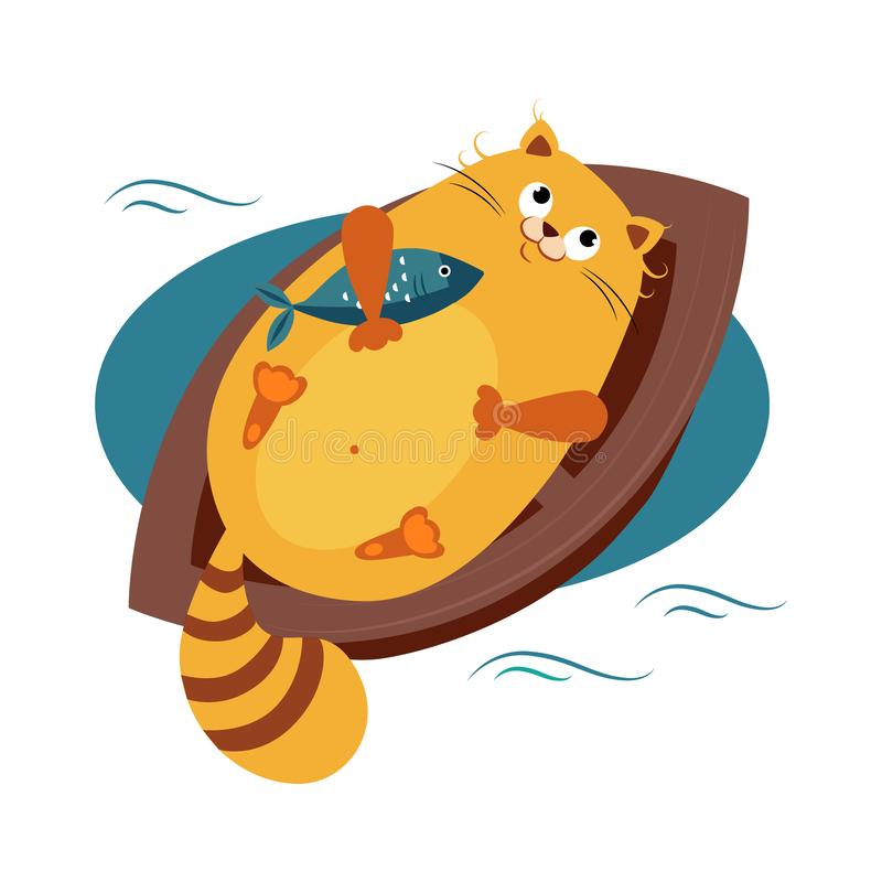 Free Cat On A Boat Hugging Fish. Vector Illustration Royalty Free Stock Image - 129941846