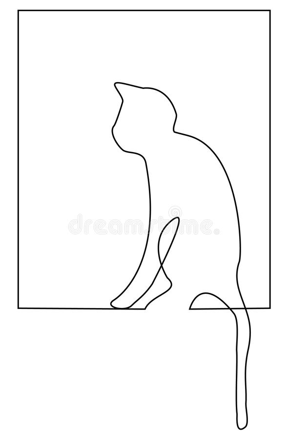 Single Line Chat Art : Cat one line drawing stock vector illustration of icon
