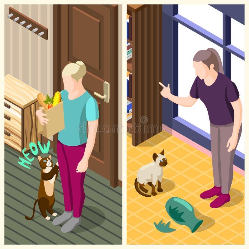 Cat Ordinary Life Isometric Banners illustrazione di stock