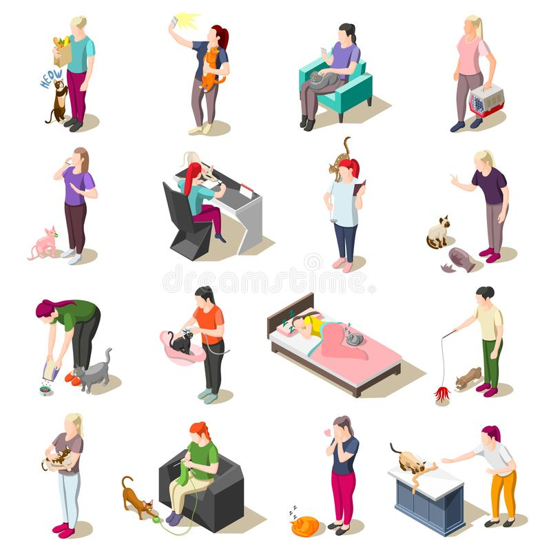 Free Cat Ordinary Life Isometric Icons Stock Photography - 113054122