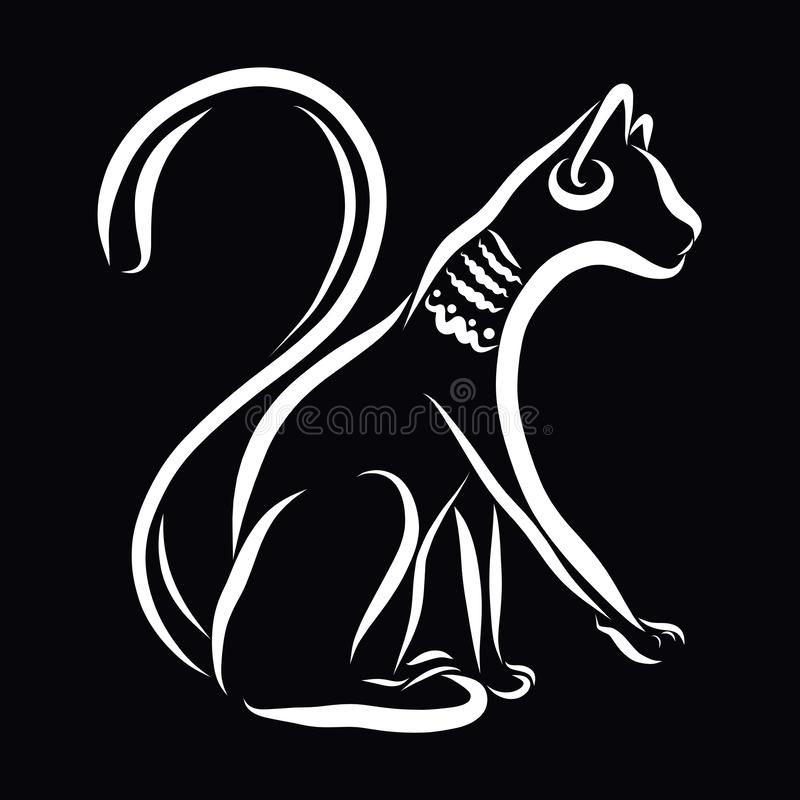 Cat with ornaments on the neck and ears, white outline on a black background royalty free illustration