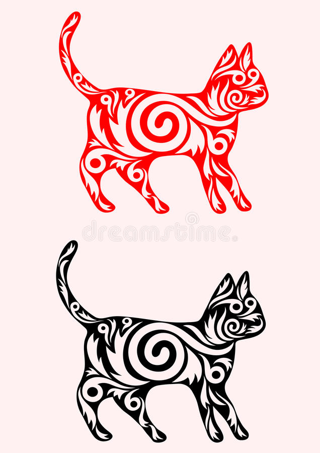 Cat Ornate Stock Vector