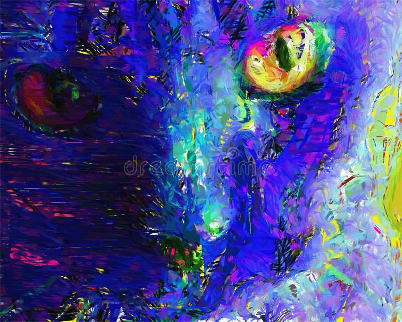 Cat Painting. Vivid Color Abstract Cat Painting royalty free illustration