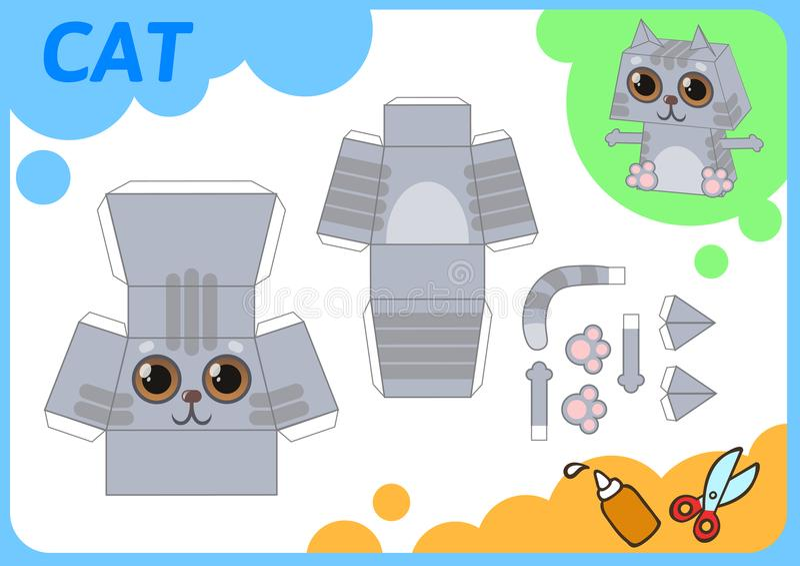 Cat Paper Model drôle Petit projet à la maison de métier, jeu de papier de DIY Coupé, pli et colle Coupes-circuit pour des enfant illustration libre de droits