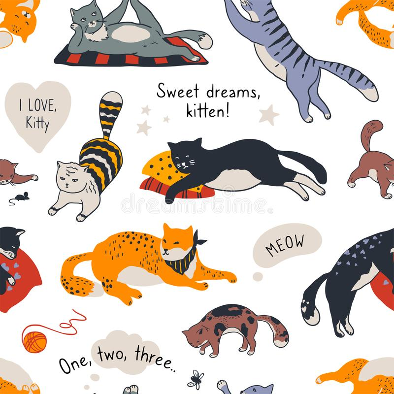 Cat pattern. Seamless texture of different cute kittens, trendy doodle fabric template with diverse cats. Vector funny royalty free illustration