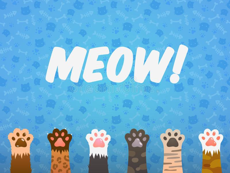 Cat paw flat background. Cats cartoon pet paws, print kitten texture, pets shelter vector poster royalty free illustration