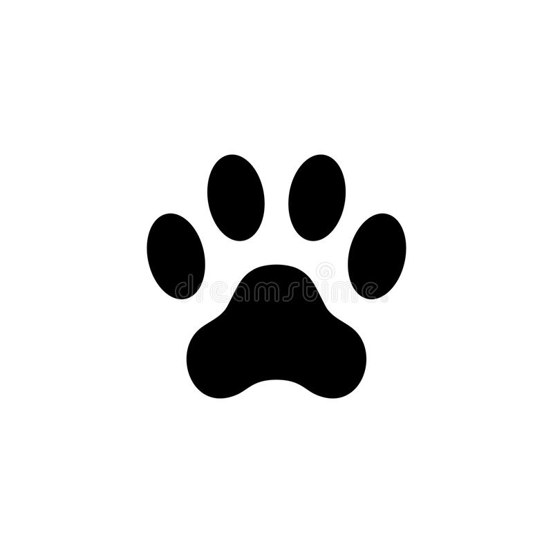 Cat paw print. Footprint. Animal paw isolated on white background. Vector illustration vector illustration