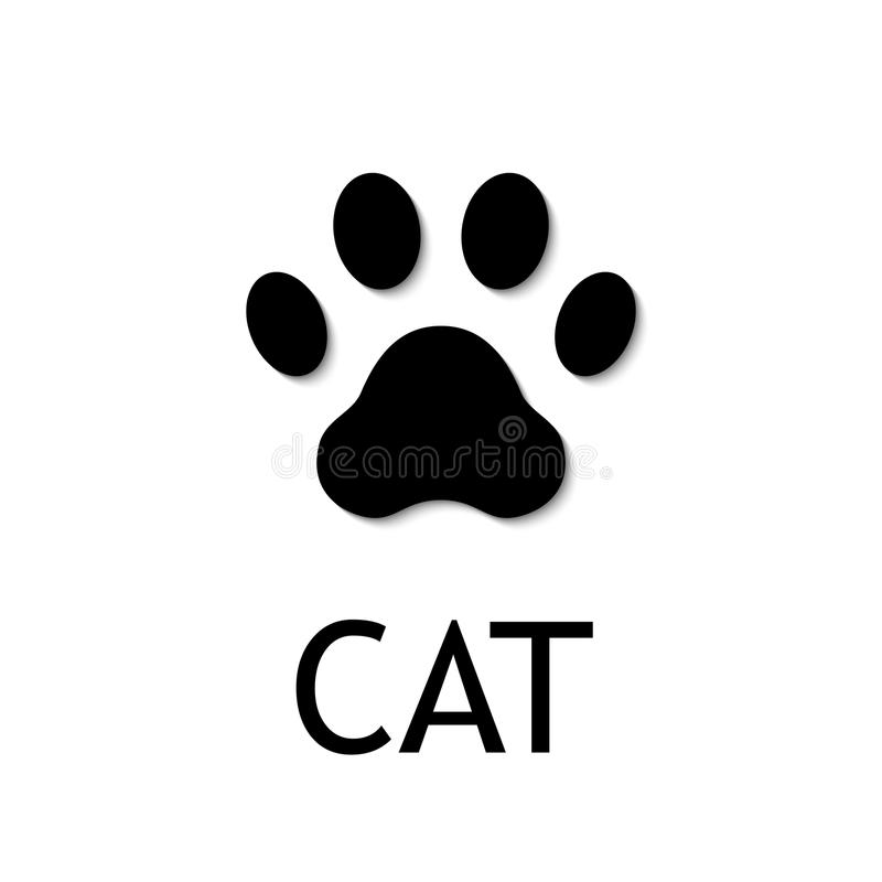 Cat paw print. Vector icon. Cat paw print. Footprint. Black vector icon stock illustration