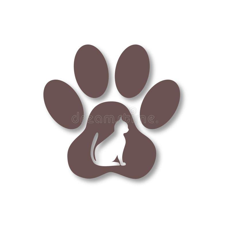 Cat Paw Print-Ikonen eingestellt mit langem Schatten lizenzfreie abbildung