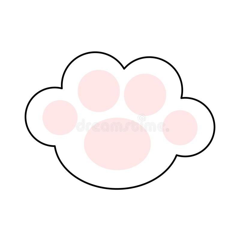 Cat paw print leg foot icon with pink pads. Cute cartoon kawaii funny character body part line silhouette. Baby pet collection. Flat design. White background vector illustration