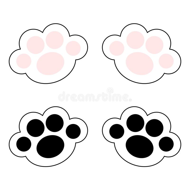 Cat paw print leg foot icon set with pink and black pads. Cute cartoon kawaii funny character body part line silhouette. Baby pet. Collection Flat design. White stock illustration