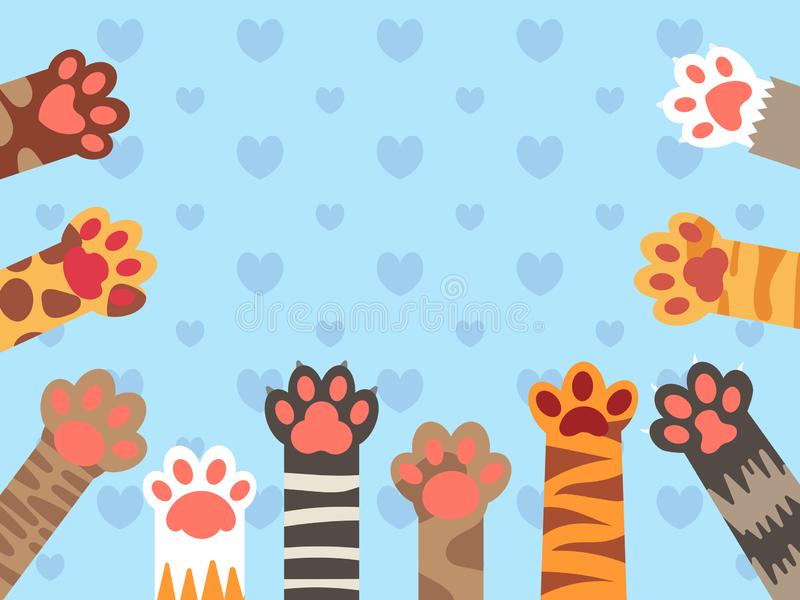 Cat paws. Cute kitten paw, cats claws and funny domestic pets vector background illustration. Cat paws. Cute kitten paw, cats claws and funny domestic pets foot royalty free illustration