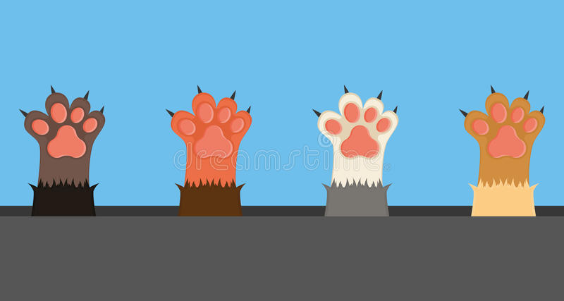 Cat paws, illustration. Set of cat paws with nails, Vector illustration royalty free illustration