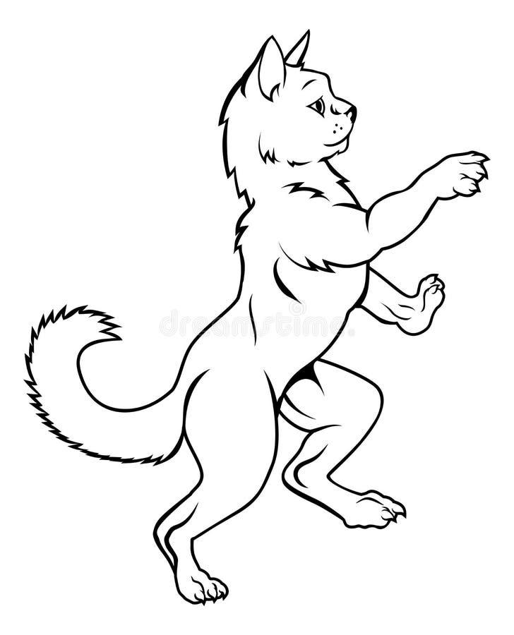 Cat Pet en actitud desenfrenada heráldica del escudo de armas ilustración del vector