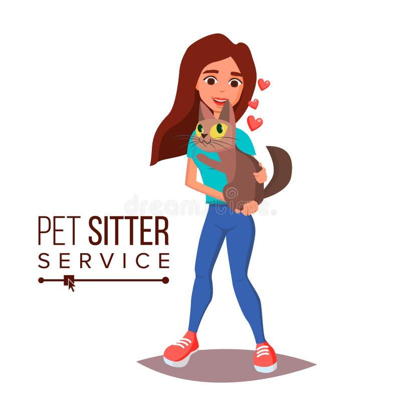 Cat Pet Sitter Service Vector De professionele Vrouw van de Huisdierenbabysitter Cat Walking Service Op Wit Beeldverhaalkarakter royalty-vrije illustratie