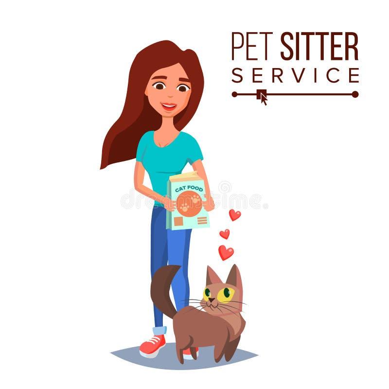 Cat Pet Sitter Vector Cat Sitter Walking Huisdier die een Rust Illustratie van het Beeldverhaalkarakter nemen royalty-vrije illustratie