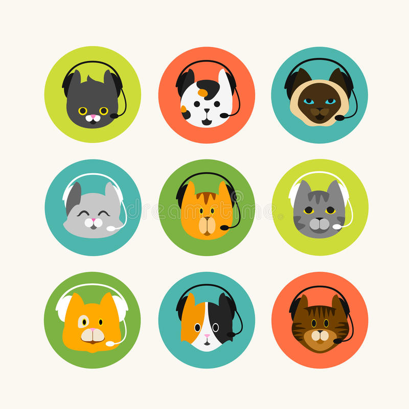 Cat with phone headset vector illustration