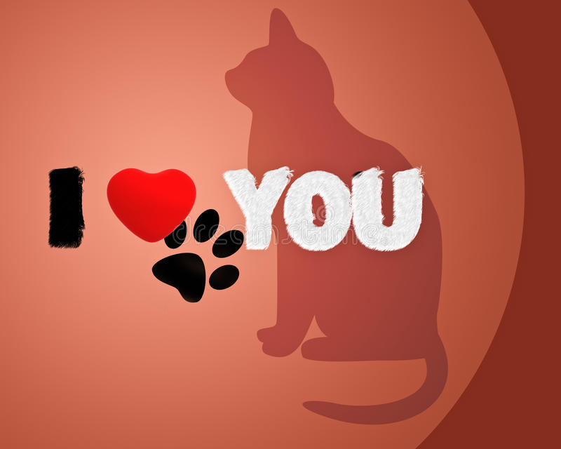 Download Cat with phrase i love you stock illustration. Image of single - 18394297