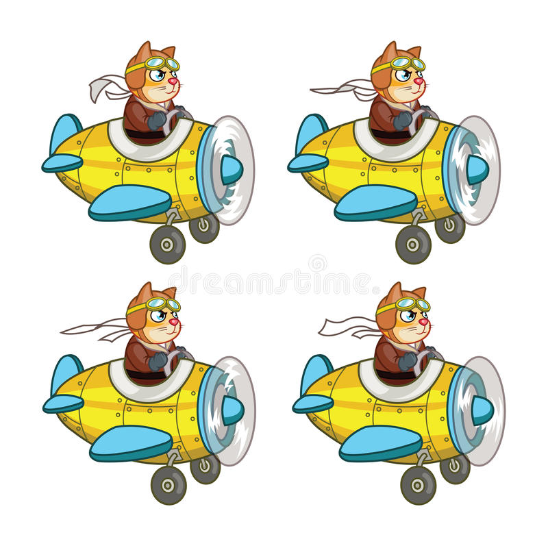Cat Pilot Animation Sprite. Cartoon Illustration of Cat Pilot Animation Sprite for game