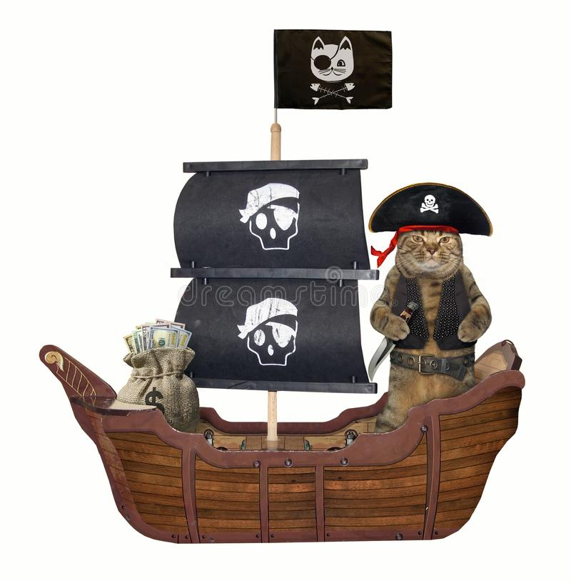 Cat pirate on the ship. The cat pirate in a tricorn with a knife is on the sailing ship. White background stock photo