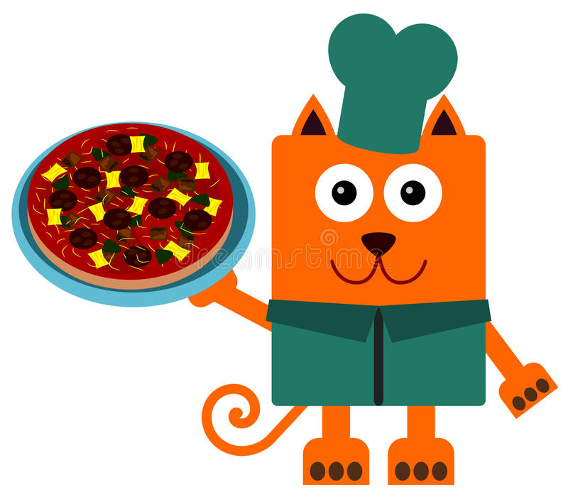 Download Cat pizza stock illustration. Image of cooking, cartoon - 30975549