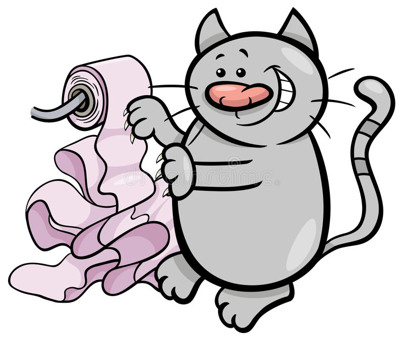 Cat play with toilet paper cartoon royalty free illustration