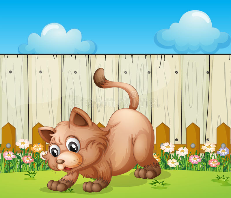 A cat playing at the backyard. Illustration of a cat playing at the backyard royalty free illustration
