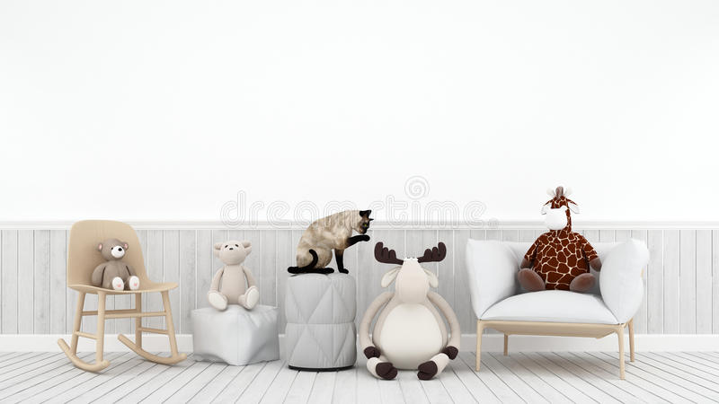 Cat playing with doll reindeer bear and giraffe in kid room - 3D rendering royalty free illustration