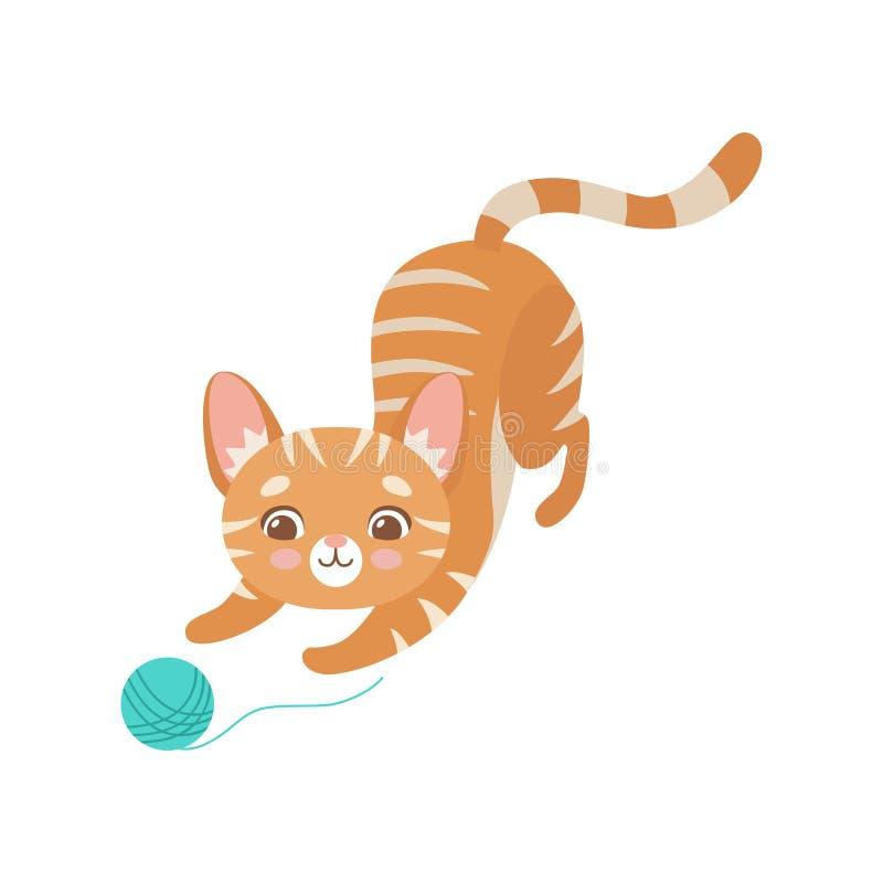 Cat Playing vermelha engraçada listrada com a bola do fio, ilustração bonito de Kitten Animal Pet Character Vetora ilustração do vetor