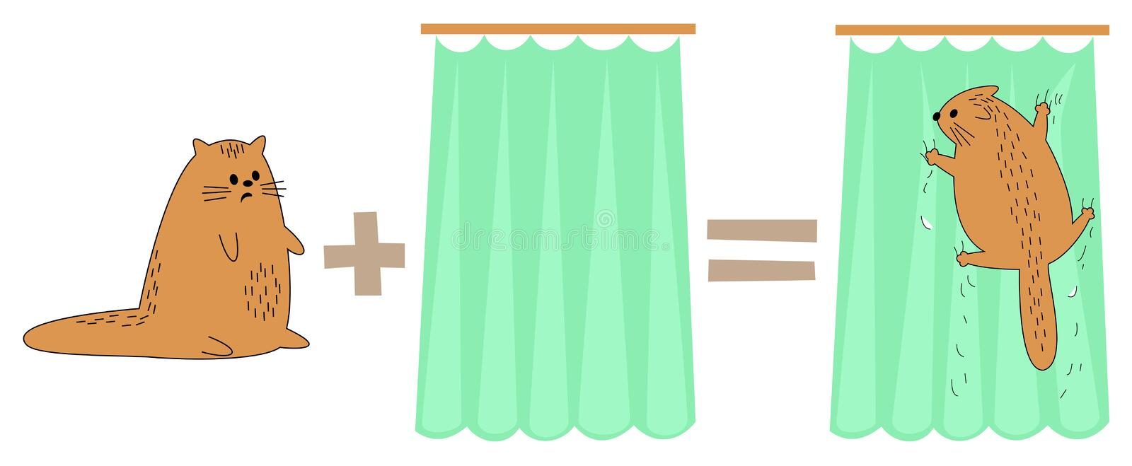 Cat plus curtain, equals. Pet scared, hanging on the curtains. The animal broke, damaged the curtain. Funny math. Vector royalty free illustration