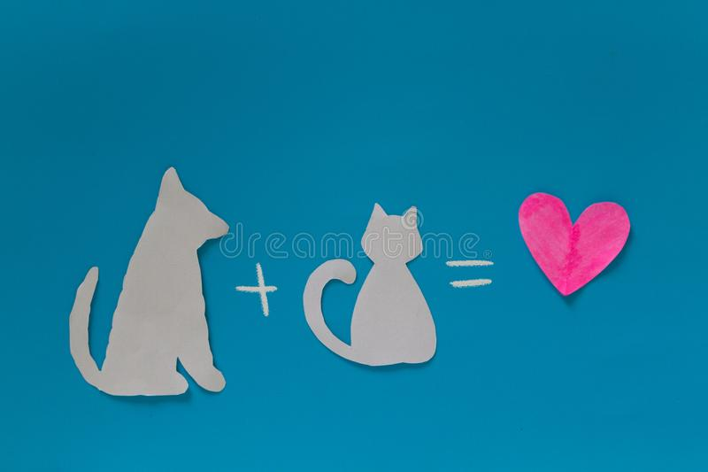 Cat plus dog is love royalty free stock image