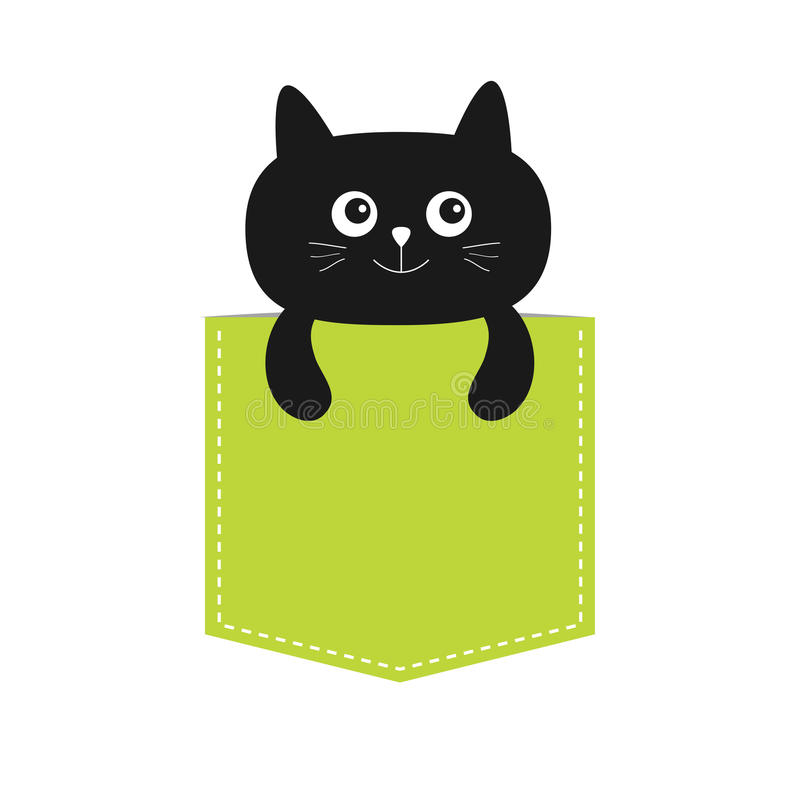 Cat in the pocket. Cute cartoon character. Black kitten kitty. Dash line. Pet animal collection. T-shirt design. White. Background. Isolated. Flat Vector vector illustration