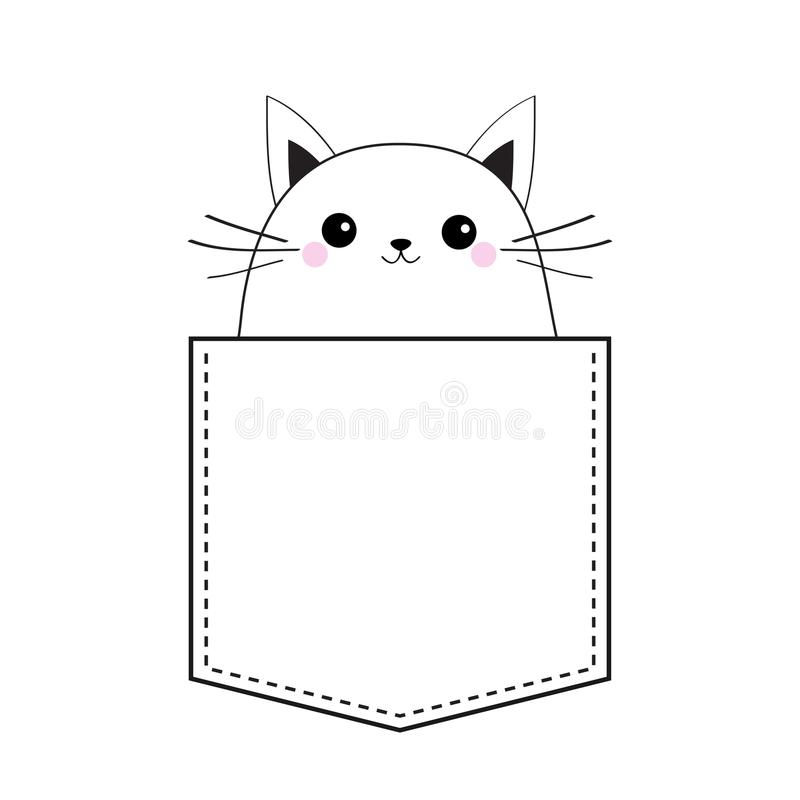 Cat in the pocket. Doodle linear sketch. Pink cheeks. Cute cartoon animals. Kitten kitty character. Dash line. Pet animal. White a. Nd black color. T-shirt royalty free illustration