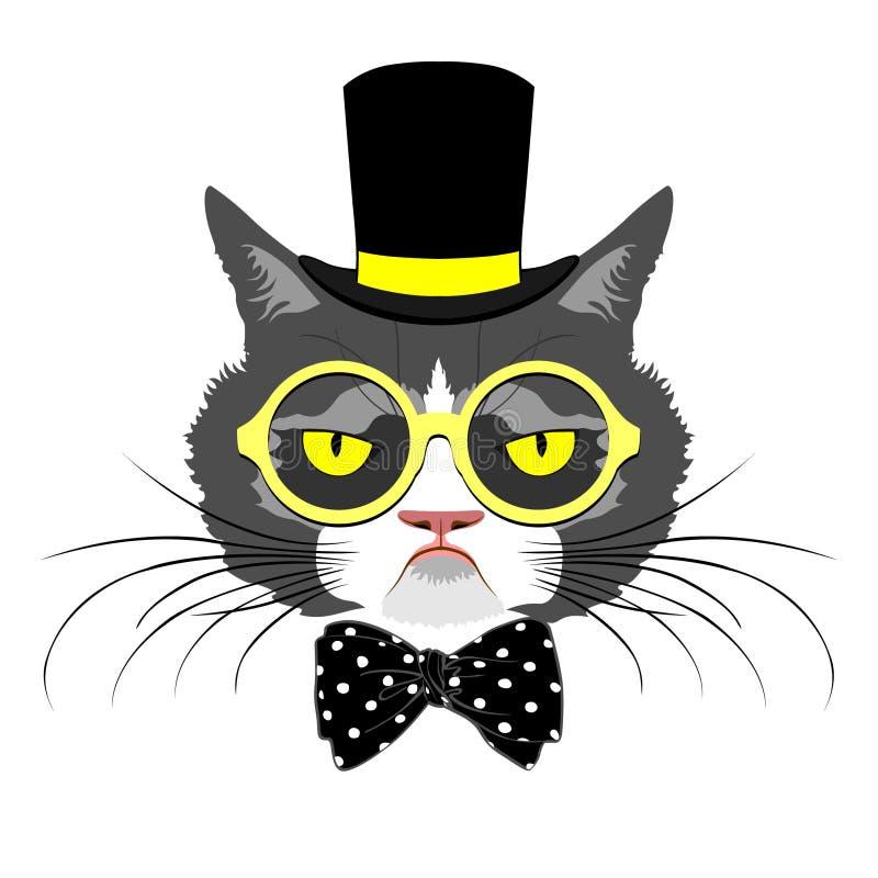 Cat portrait. Retro look, vector illustration stock illustration