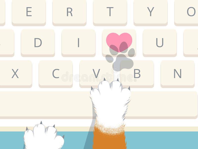 Cat pressed heart key on computer keyboard vector illustration