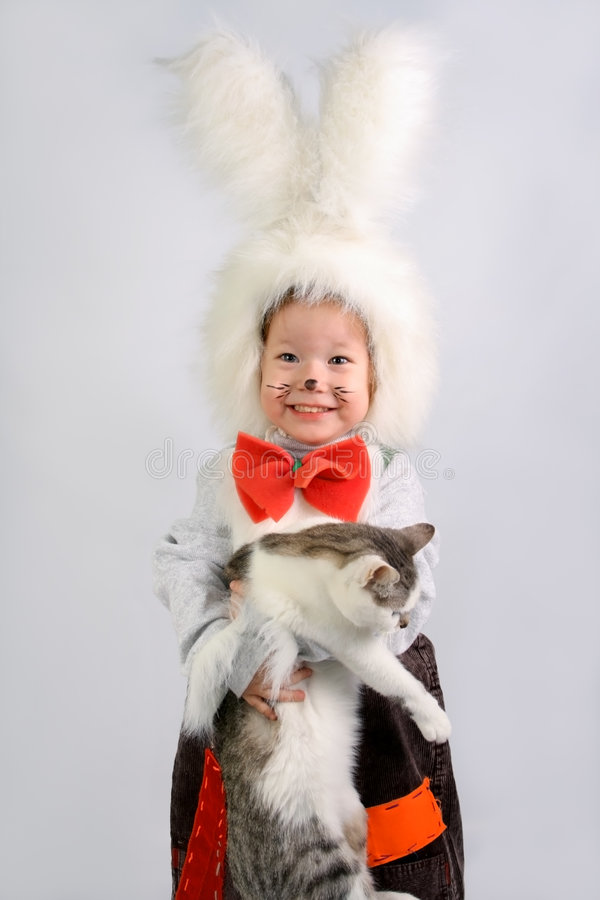 Cat and rabbit stock image