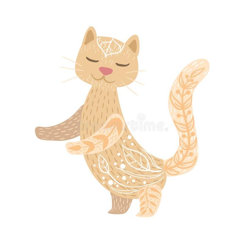 Cat Relaxed Cartoon Pet Animal con gli occhi chiusi decorati con i motivi ed i modelli floreali di stile dei pantaloni a vita bas royalty illustrazione gratis
