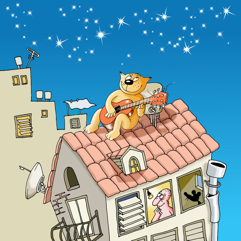 Download Cat on a roof stock illustration. Image of nostalgia, mouse - 8954333