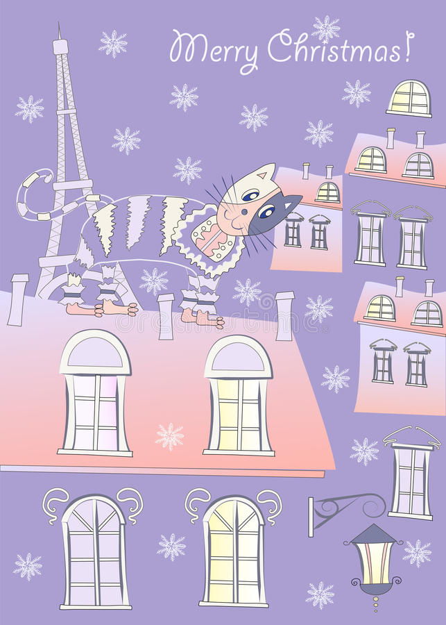 Cat on a Roof of Winter Paris.