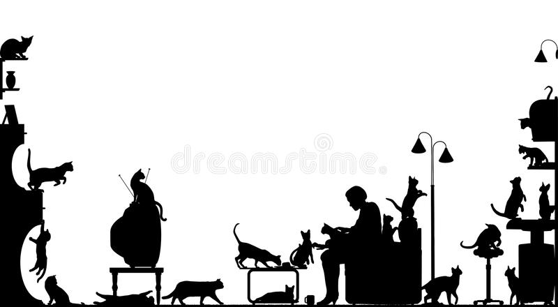 Download Cat room stock vector. Image of many, kitty, group, companions - 10221151