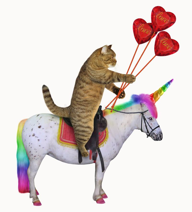 Cat with ruby hearts on the unicorn. The cat with a bouquet of ruby hearts is riding the real unicorn. White background vector illustration